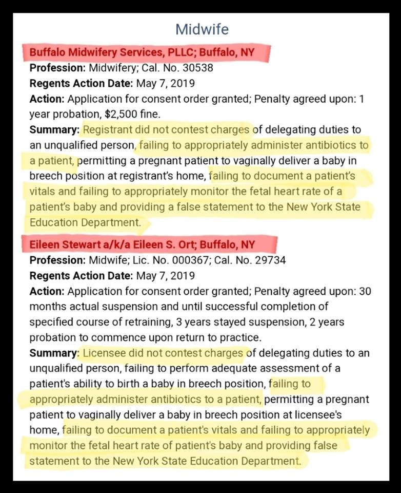 Uncontested   charges  and NYSED disciplinary action orders (enacted May 7, 2019).