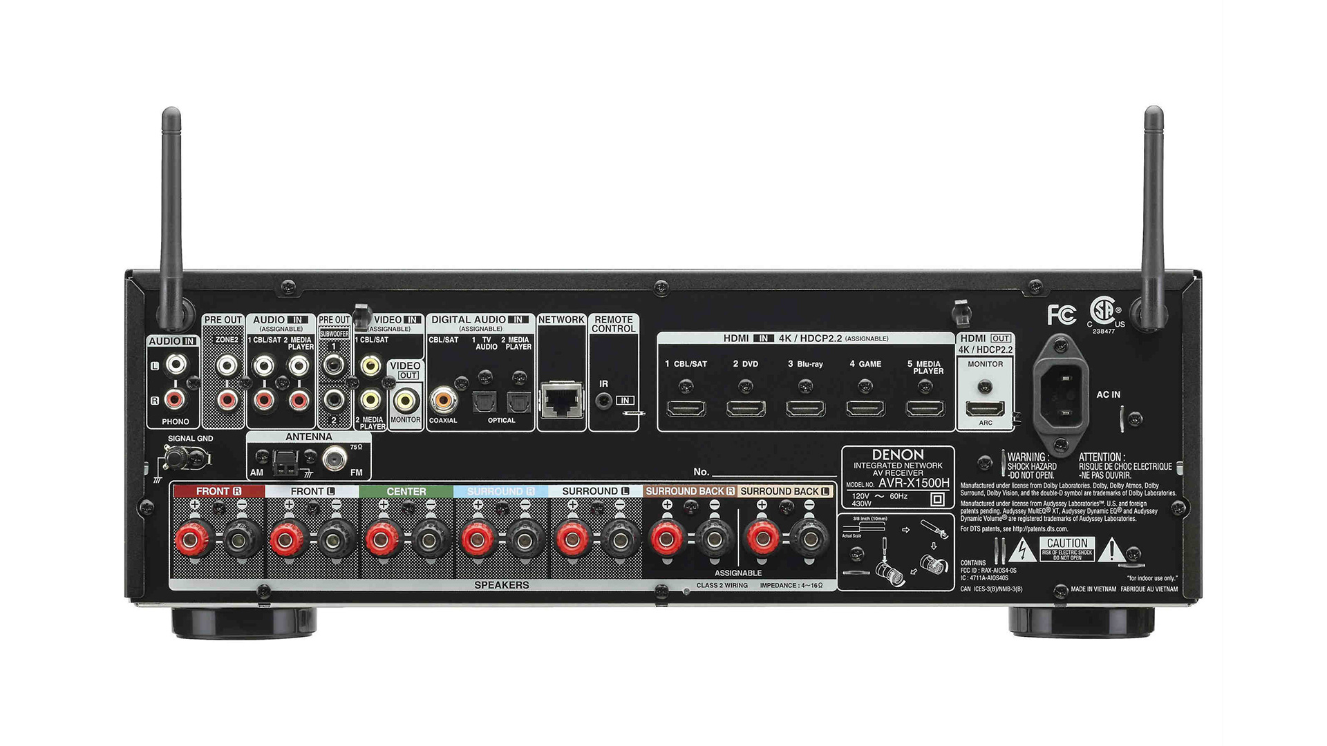 Denon AVR-X1500H AV Surround Receiver (Back) at Creative Audio in Winnipeg