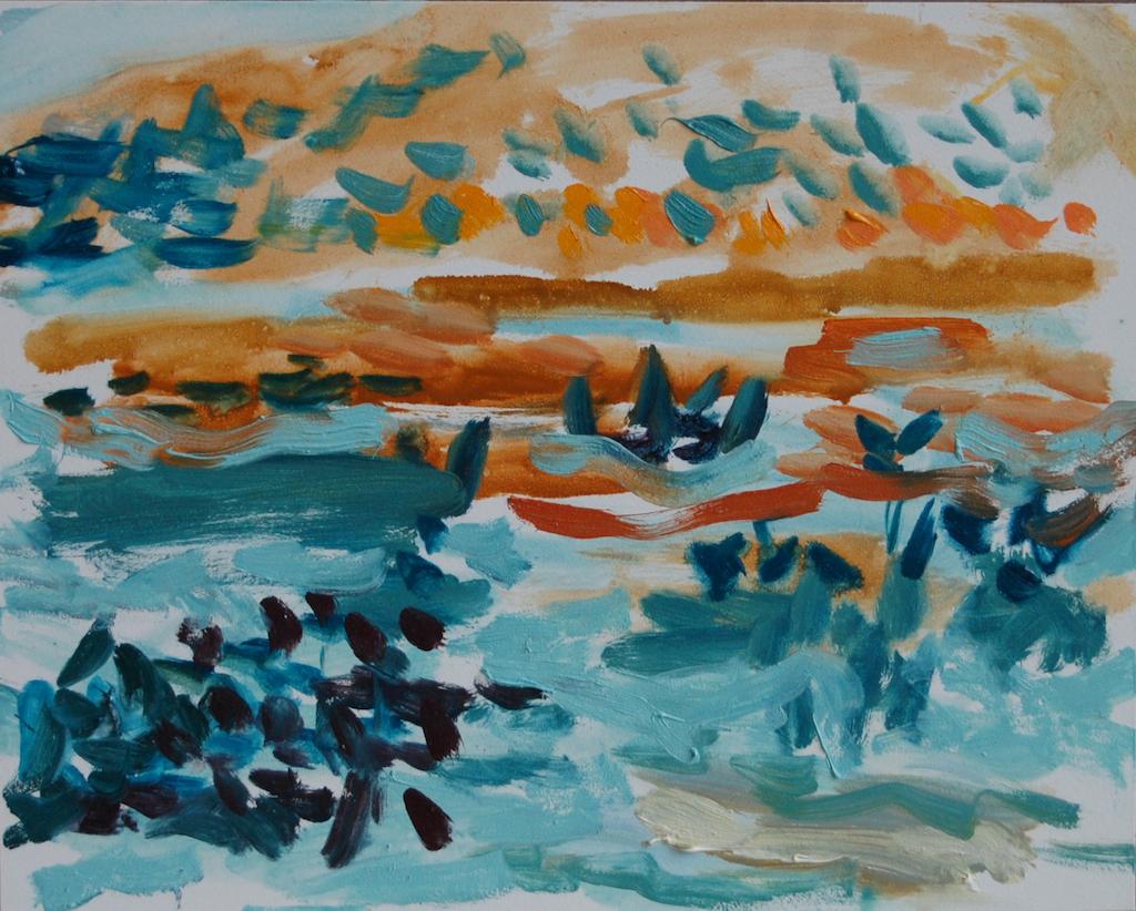 "Thorndike Pond, Autumn Evening, 8 x 10 "", ©2016 Robin Oliver"