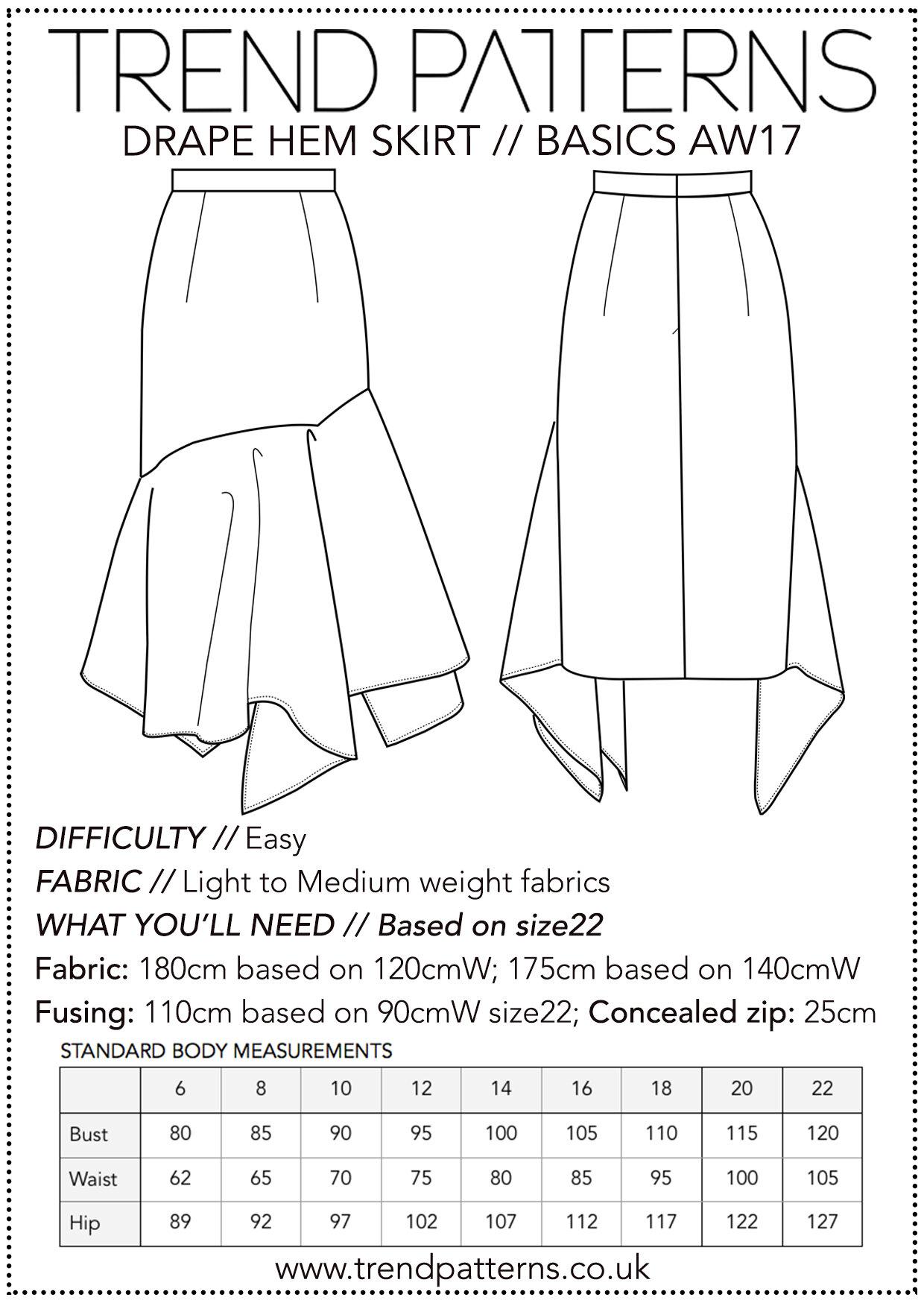Tpc17 Drape Hem Skirt 8 22 Trend Patterns
