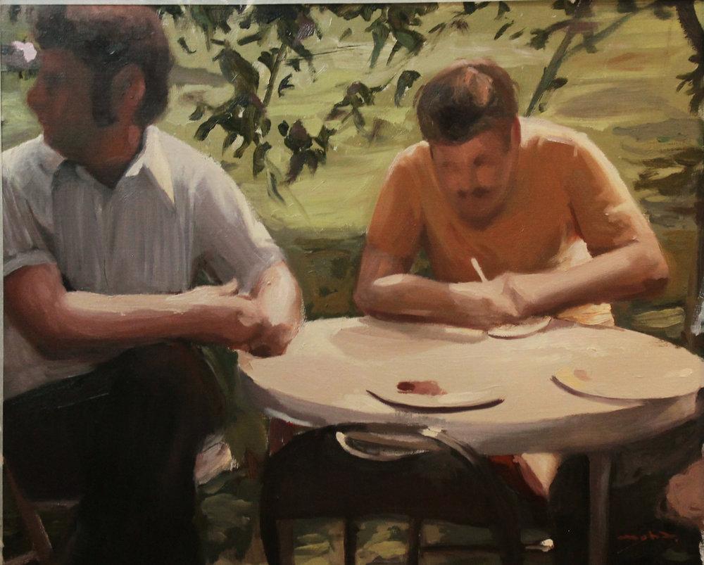 Reunión de vecinos III, oil on canvas 66 x 82 cm