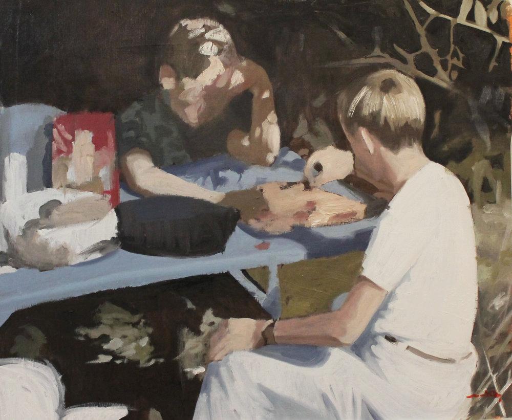 Reunión de vecinos II, oil on canvas 66 x 82 cm