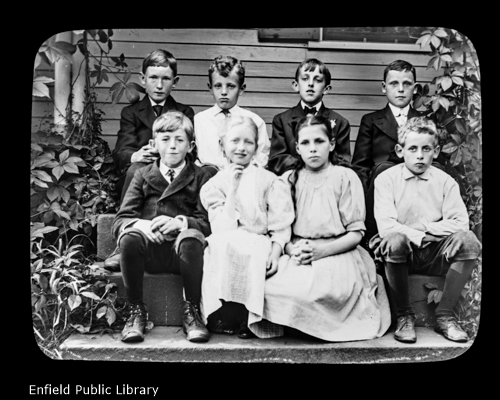 Of this class, the teacher could not be present for the picture.Nelson Steele, Knowlton Woodward, Stanley Adams, Edward Kingsbury. The name of the first has escaped me, Marion Jones, Anna Most, Hubert Mayo.