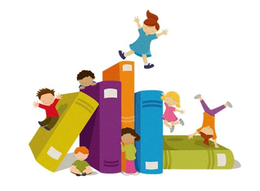 children playing on books