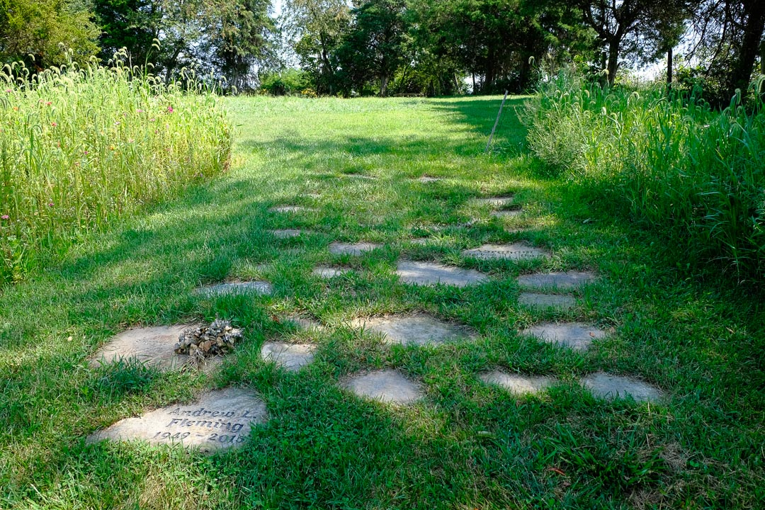 Duck Run Natural Cemetery--stone path marks cremation sites