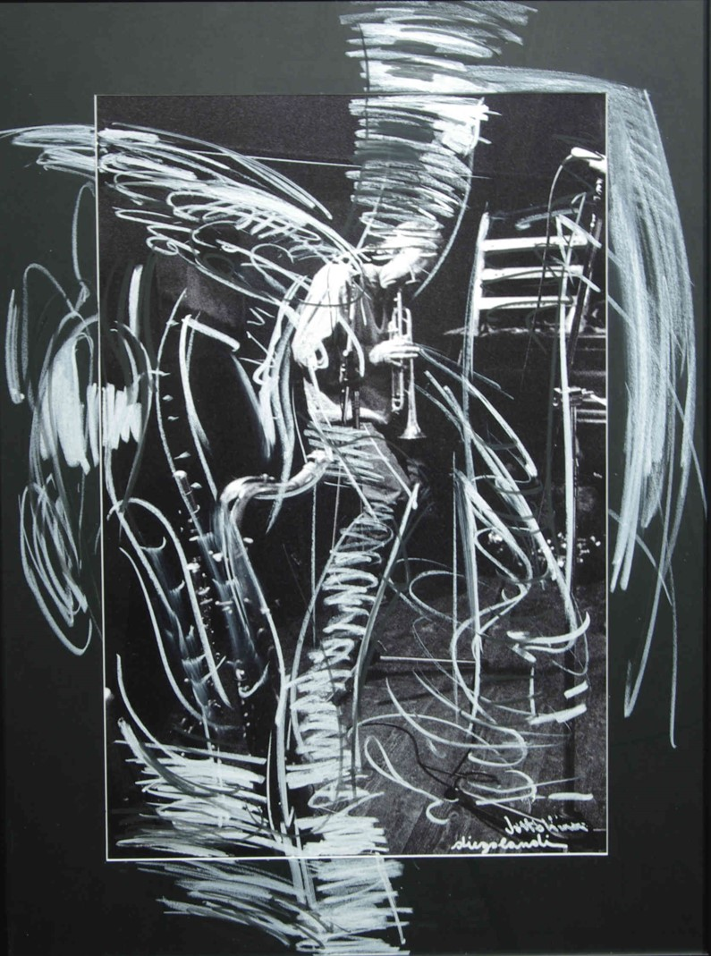 Guido Mazzon on trumpet. Diego Landi (photograph) Luigi Voltolina (painting)