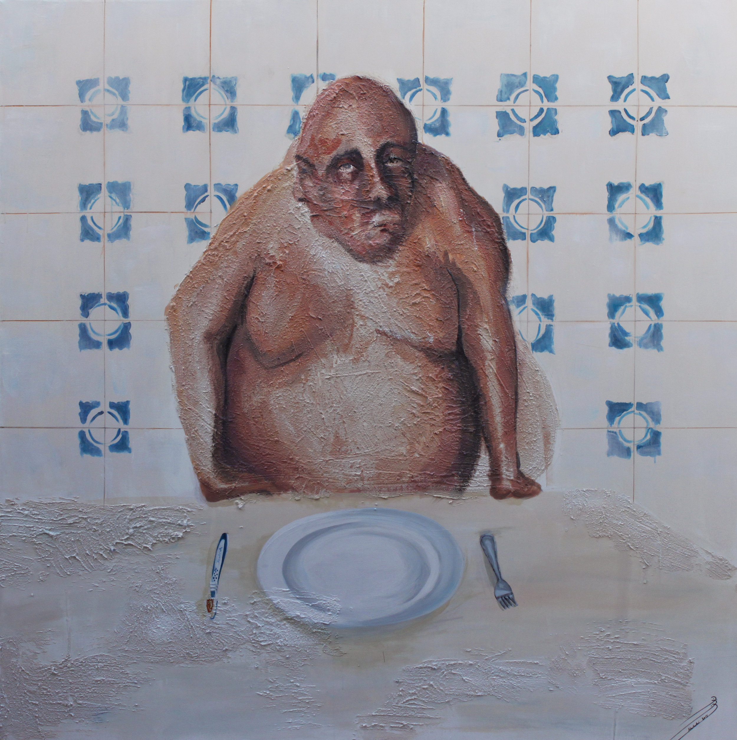 No time I. Diana Halabi, mixed media on canvas