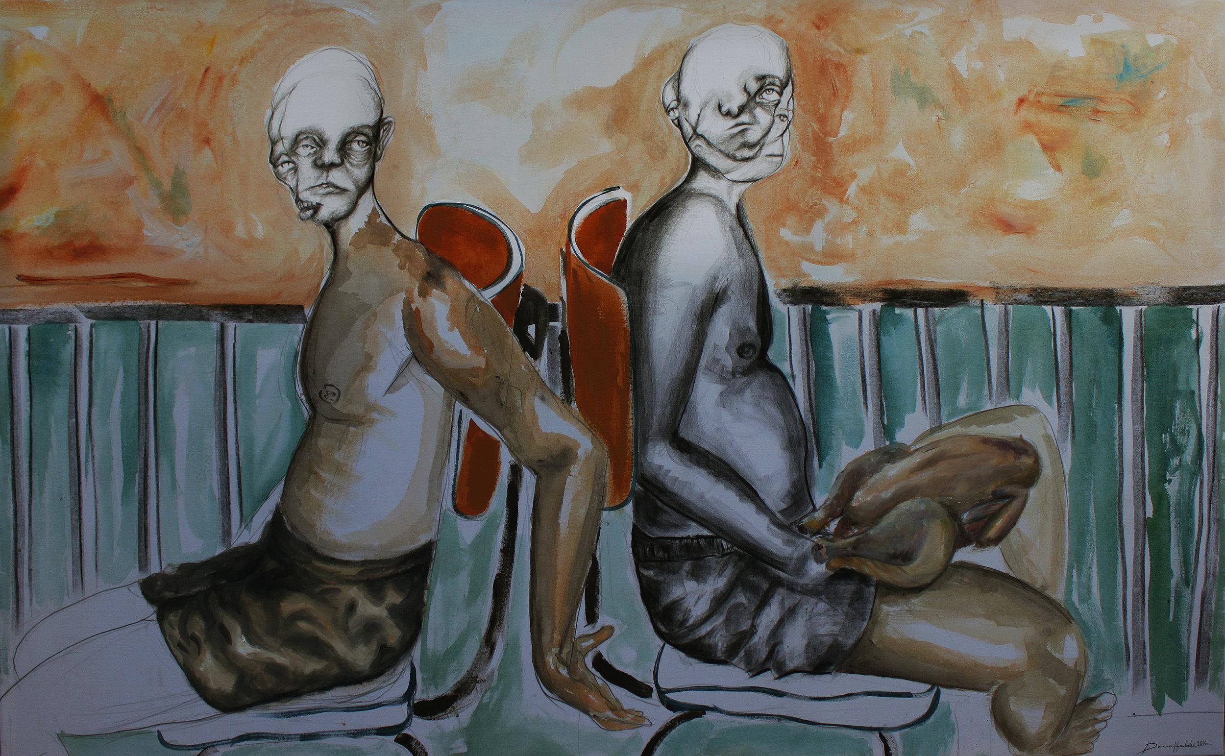Back to back. Diana Halabi, Acrylic and charcoal on canvas