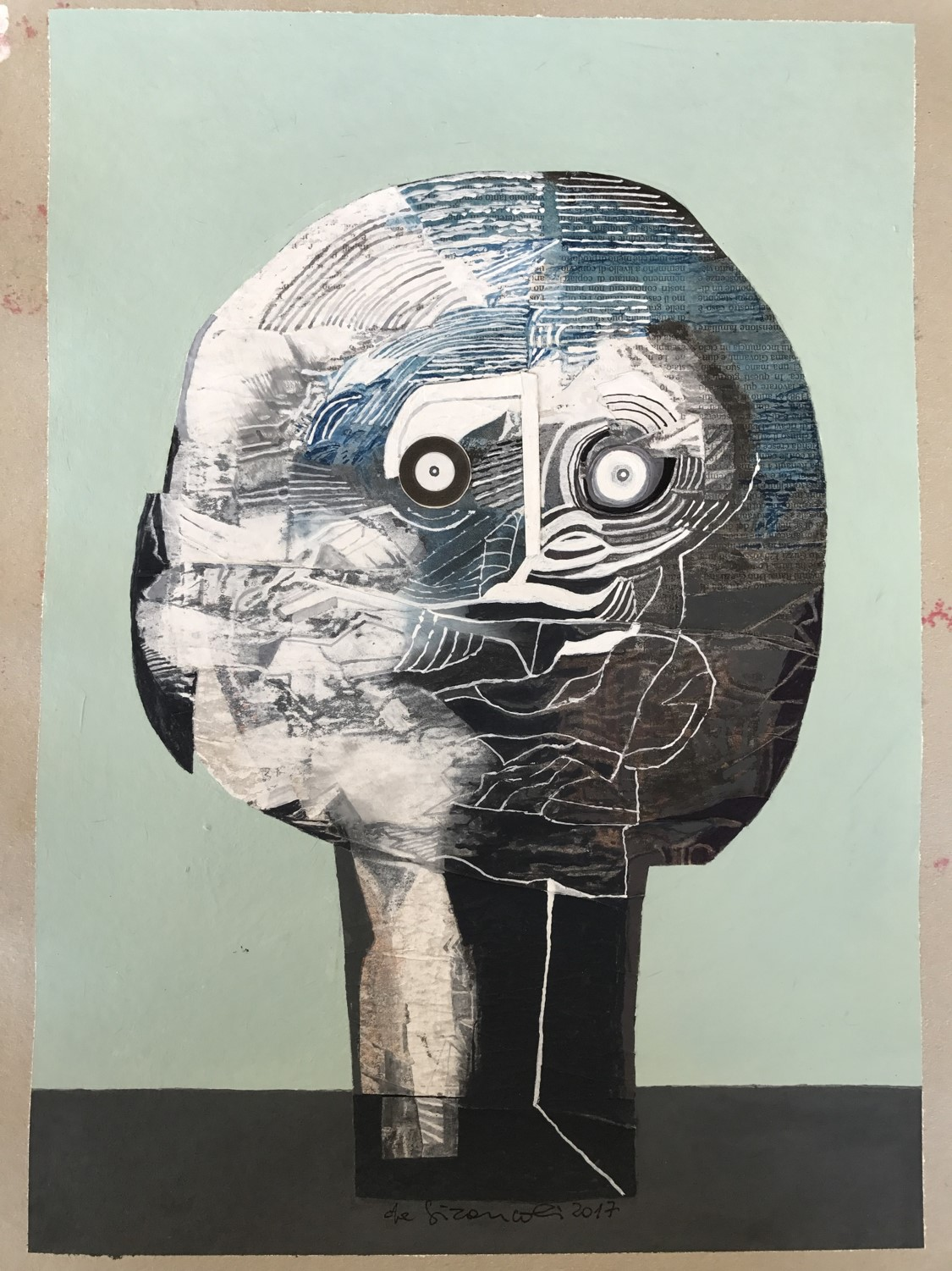 Above: Untitled. Acrylics, inks, pastels and collage on recycled cardboard. Luciano De Gironcoli