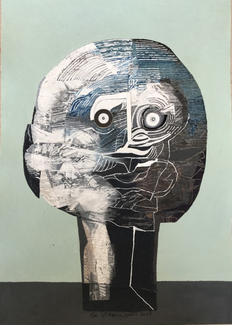 Untitled. Luciano De Gironcoli, acrylic, ink, pastels and collage on recycled paper
