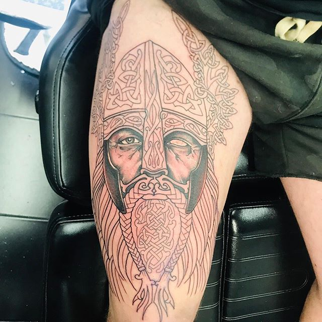 @nikcarville made a great start on this Viking piece! Can't wait to see this one finished ☺️ Email us with your ideas info@Carvilles.co.uk and get booked in!  #thigh #thighpiece #thightattoo #viking #vikingtattoo #inksociety #sleevetattoo #legsleeve #legsleevetattoo #vikingart #carvilles #tattoo #tattoos #tattoosoftheday #tattoosofinstagram #inkoftheday #inkoftheweek