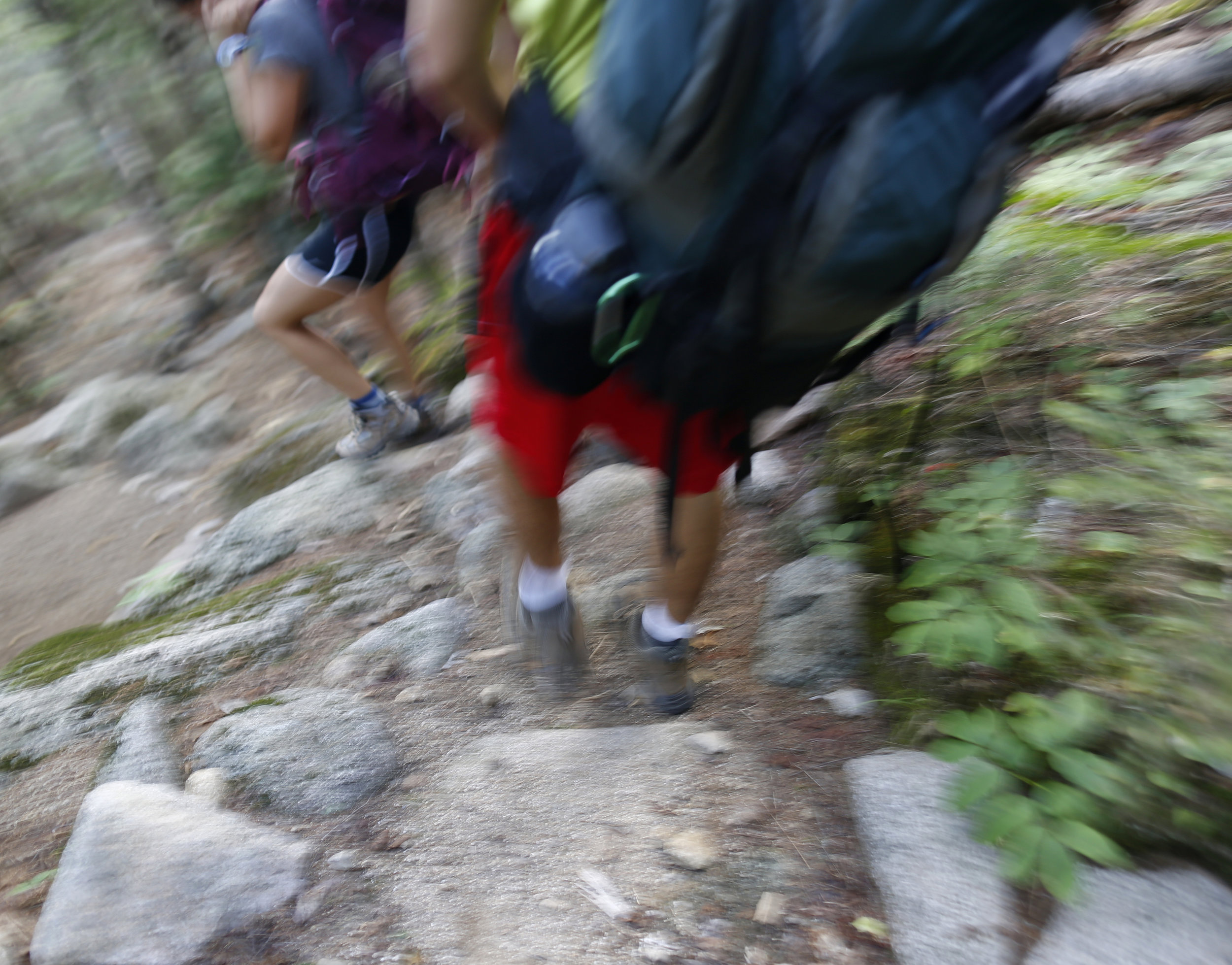 The group of six freshmen and two juniors hiked thirty miles over three days, including over the top of Katahdin, Maine's highest peak.