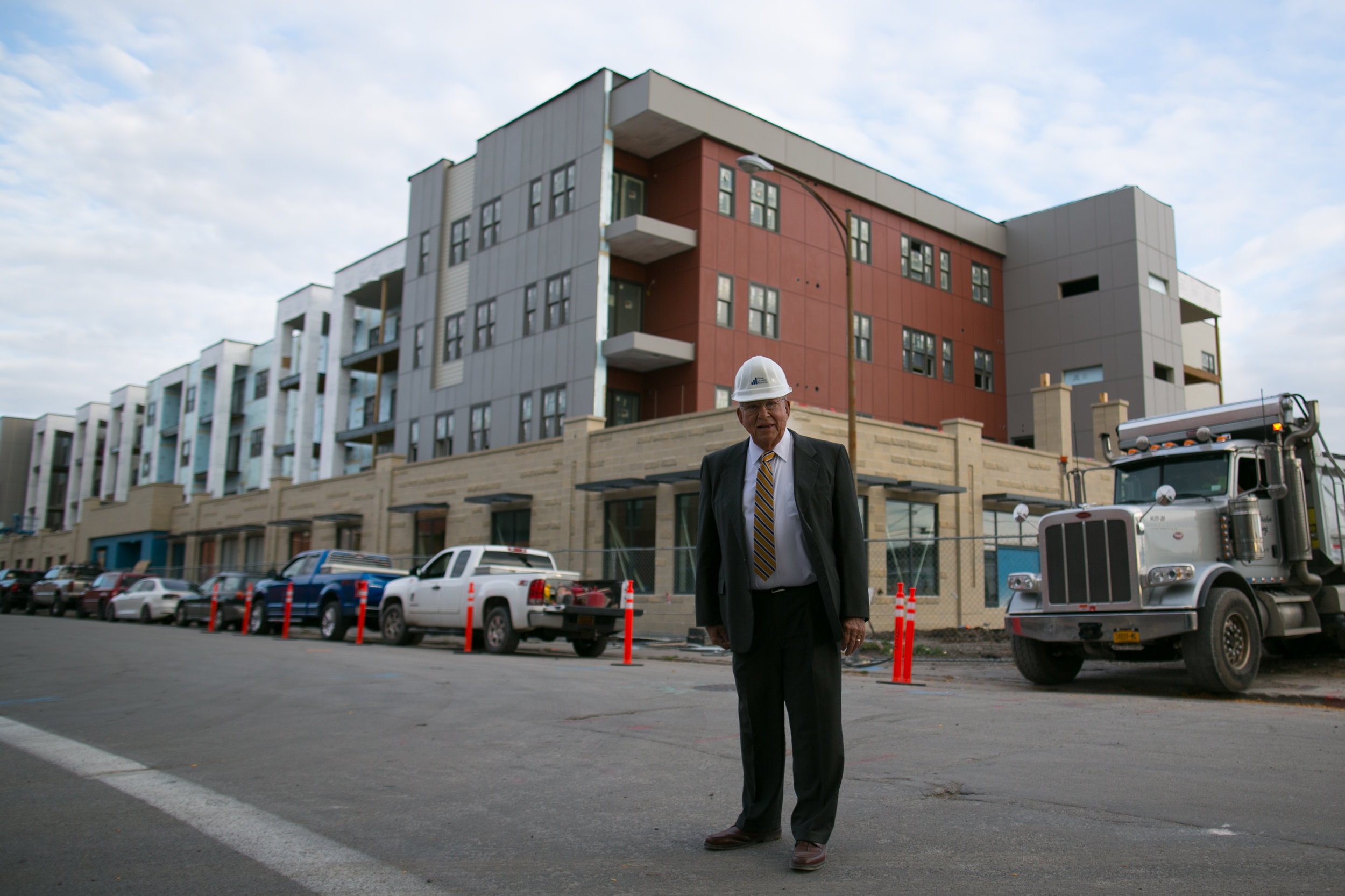 Nelson Leenhouts, President and CEO of Home Leasing LLC, is photographed at the company's Charlotte Square site in Rochester, New York. The first phase of the project includes 74 apartments, expected to be ready in November 2016.