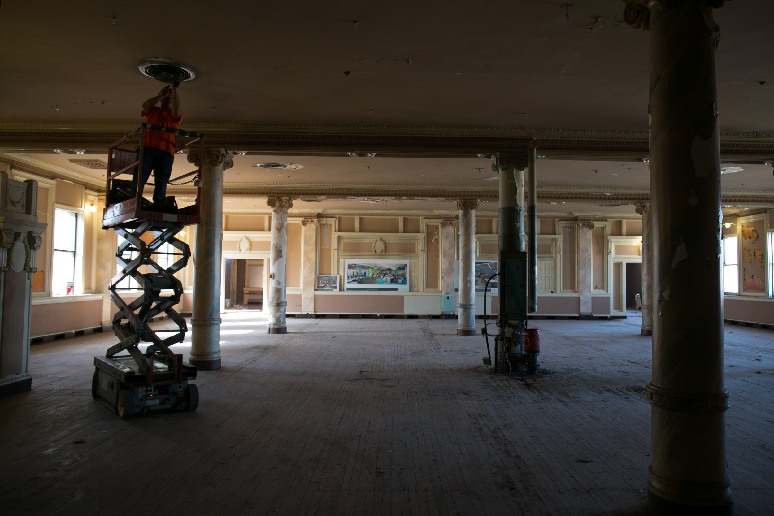 Crews work to renovate the former Tea Room restaurant at Sibley Square in Rochester, New York on Wednesday, October 5, 2016. The 1-million square foot building was home to Sibley's department store from 1906 to 1990.