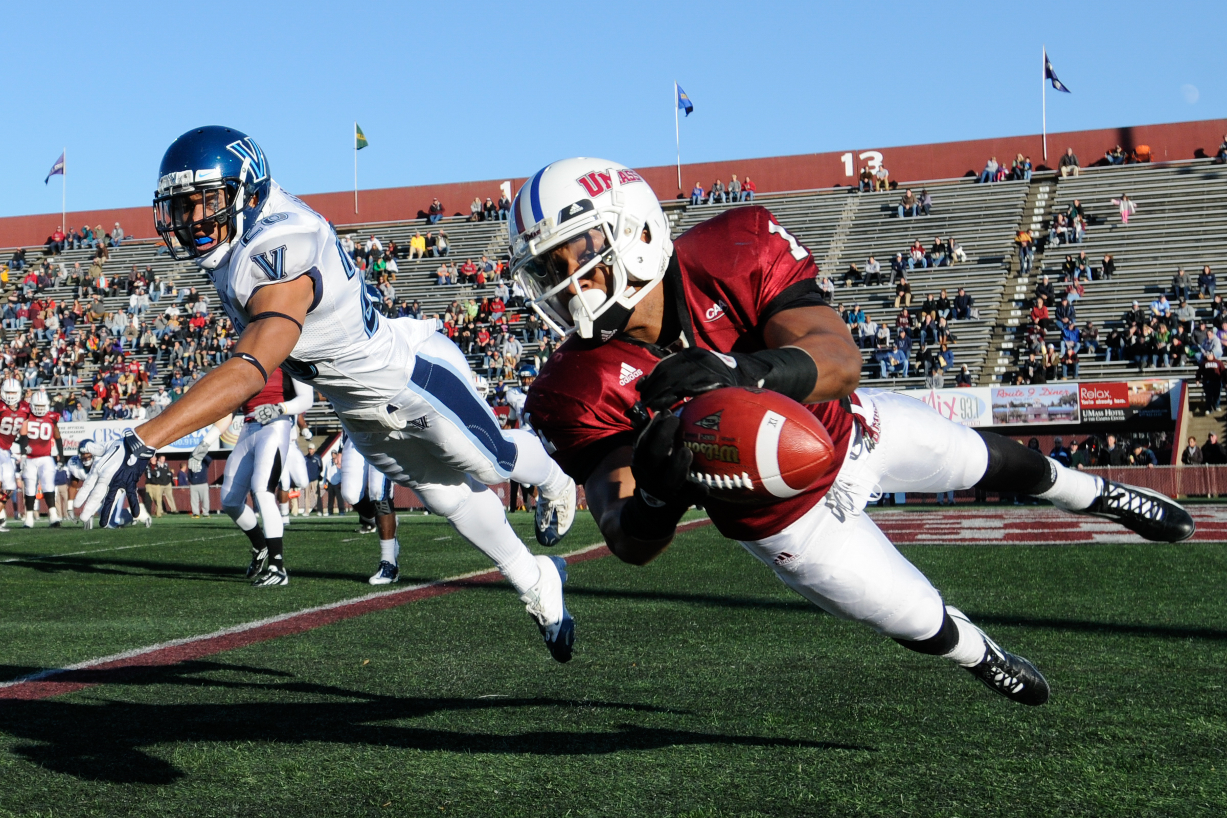 University of Massachusetts receiver Julian Talley beat defender Eric Loper but couldn't reel in the pass in the first half of a 35-17 loss to Villanova at McGuirk Stadium in Amherst, Mass. on Saturday, November 5, 2011.
