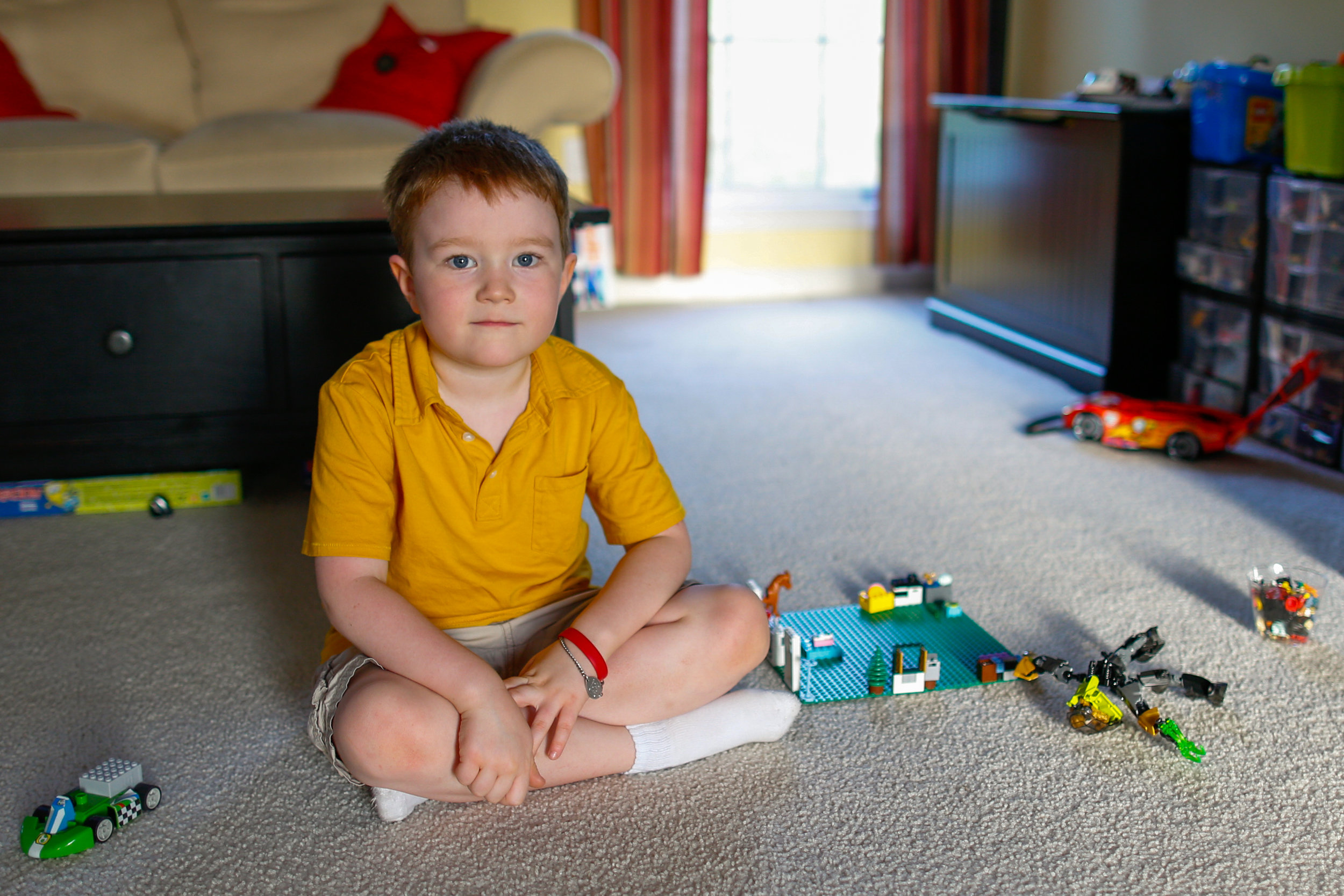 Evan Costik, 6, at his family's home in Livonia, N.Y.