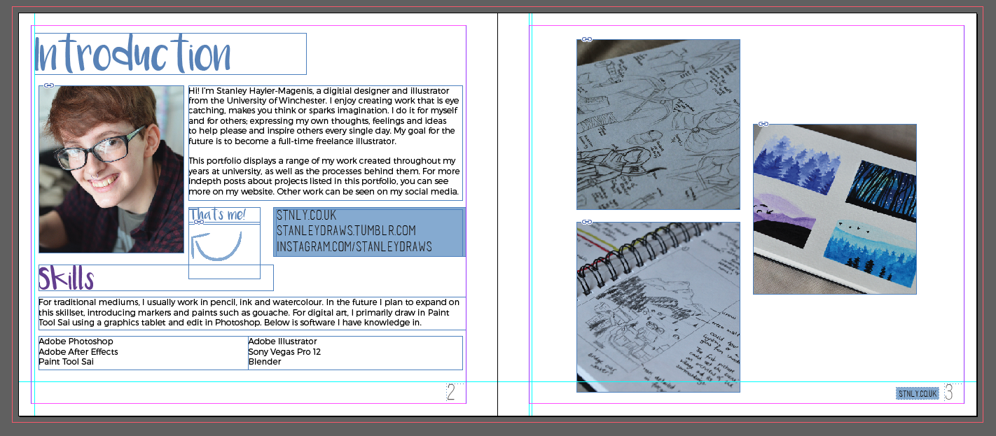 A screenshot of the book within InDesign