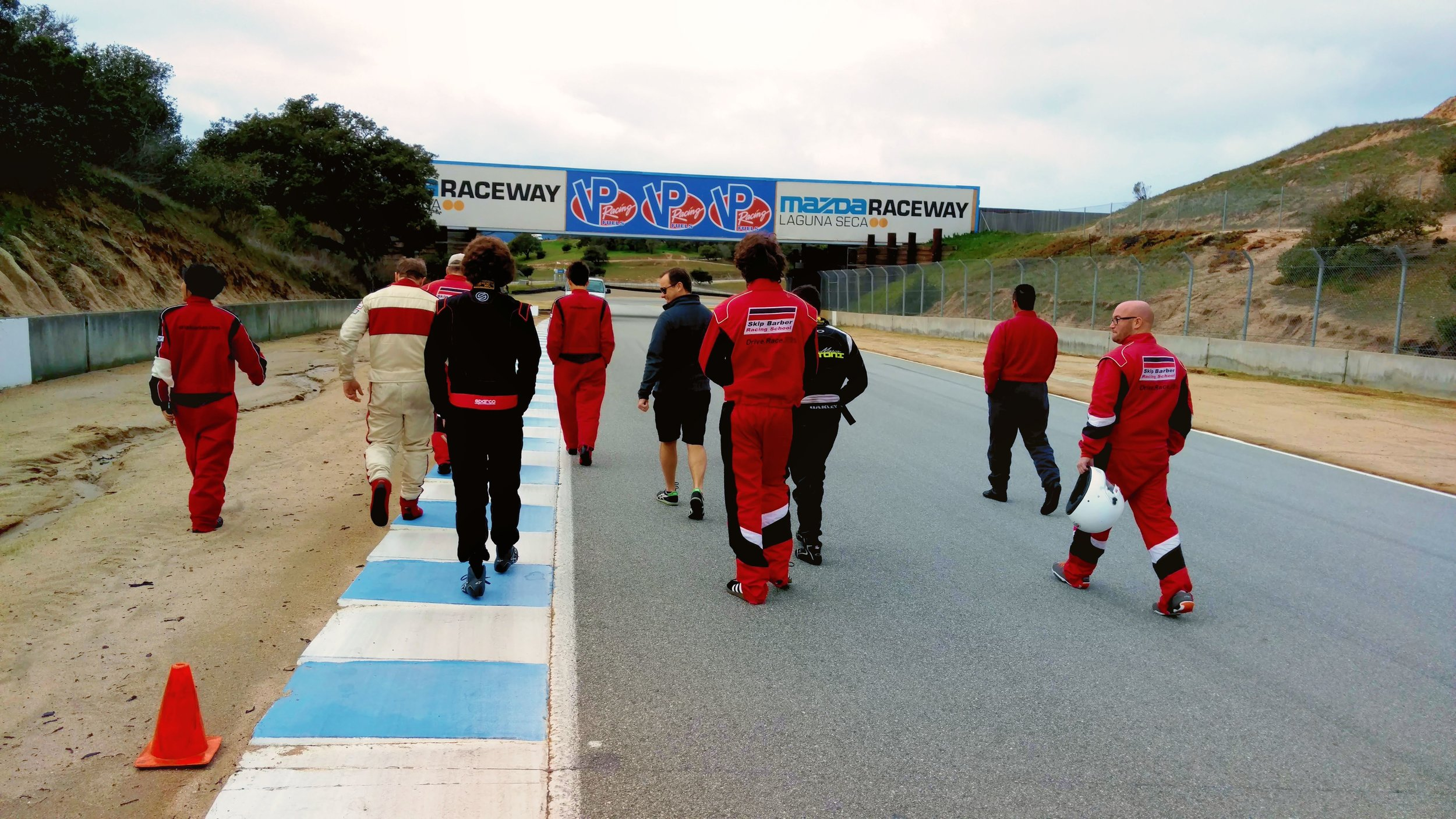 Walking the track to get to know the turns and obstacles