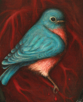 the bluebird in our heart (after baudelaire) acrylic on wood