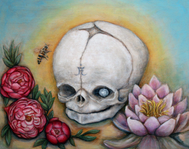 may day, for a Skulls show, NYC. oil on wood, in a private collection