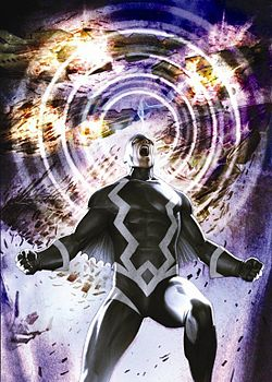 """4. The most devastating of the effects is Black Bolt's """"quasi-sonic scream"""". Because his electron-harnessing ability is linked to the speech center of his brain, any attempt to use his vocal cords triggers an uncontrollable disturbance of the particle/electron interaction field. Because of this limitation, Black Bolt must be constantly vigilant of even the softest of utterances lest he destroy anything or anyone in its path. At full strength, his voice has the capability to destroy planets.  5. When Black Bolt was captured and experimented on by the Skrulls, it was shown that his """"Sonic Scream"""" is triggered by, and at least partially dependent on, his emotional state."""