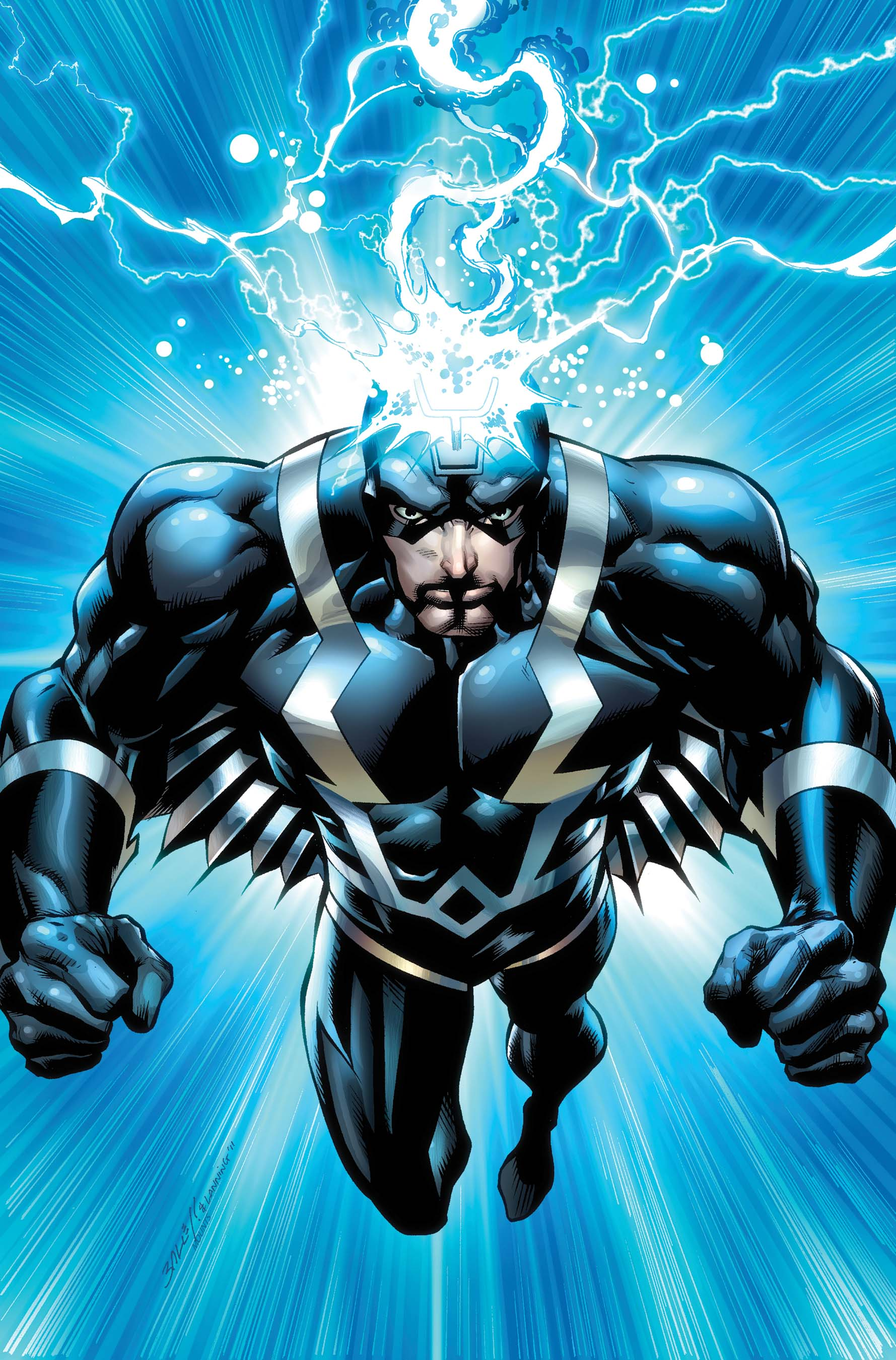 6. The fork-like antenna worn upon his forehead helps Black Bolt control his power. He can channel his powers inward to increase his strength and speed, and can focus it through the focusing tool or his arms as concussive blasts.  7. Black Bolt is capable of channeling all available energy into one devastating punch called his Master Blow, which renders him extremely vulnerable subsequently.  8. By concentrating his electrons into anti-electrons, he can fly at speeds up to 500 mph for a period of 6 hours, protected by an anti-graviton field.