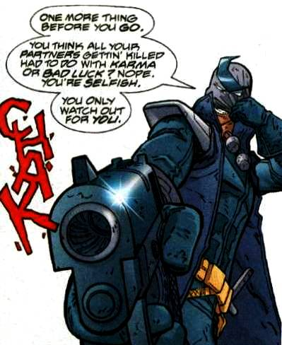 While he has no powers, Plunder is an expert marksman, and a competent fighter.He uses a special rifle that allows him to fire standard bullets, a laser, and tracking devices, and he has a kind of boomerang attached to his mask which he can detach and use.