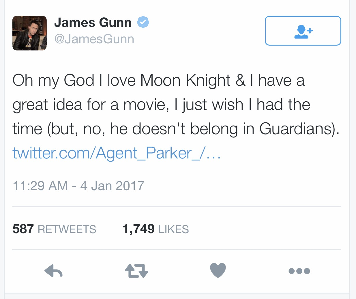 James Gunn may have killed fans hope in seeing Moon Knight in Guardians Of The Galaxy but that is good! A Moon Knight story would best be told on Netflix as a series!