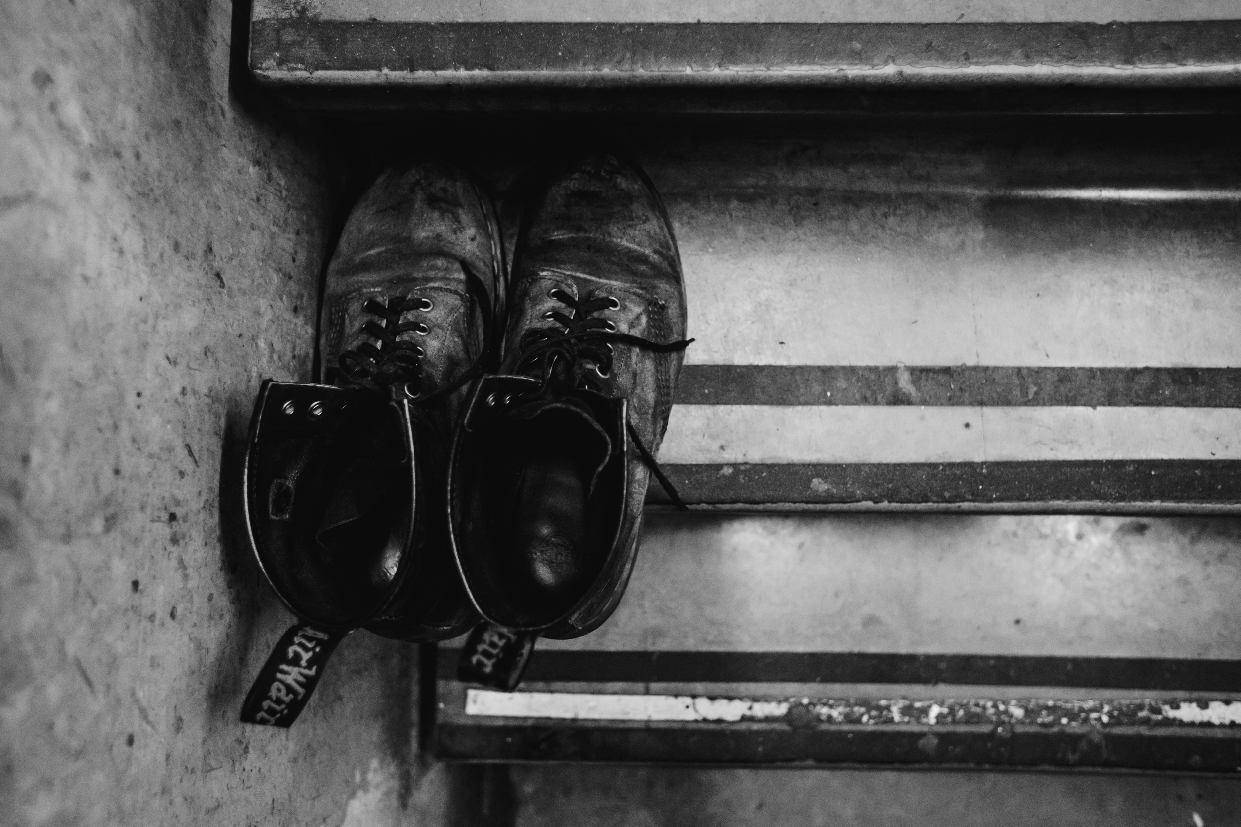 Mono drummer Dahm's shoes await his return just to the side of the stage