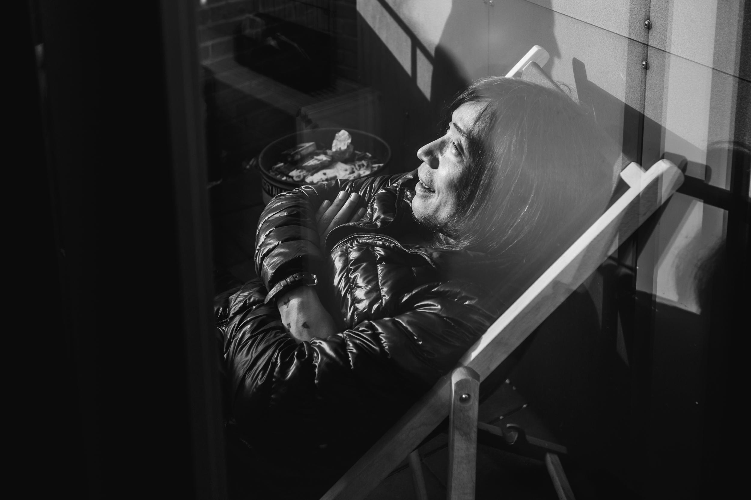 Taka enjoying the sun on the venue's balcony
