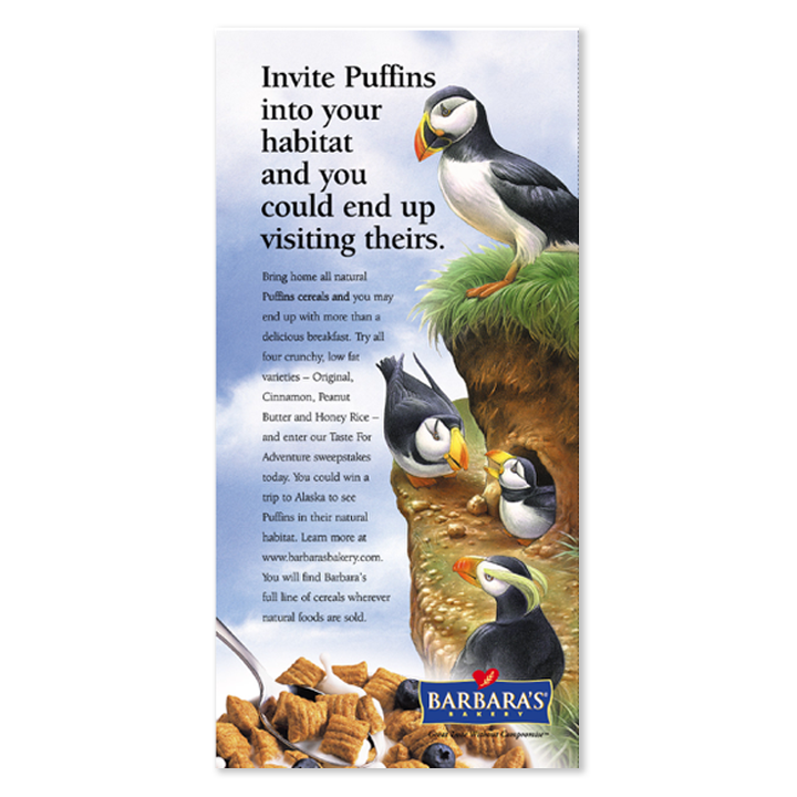 Barbara's puffins print advertisement
