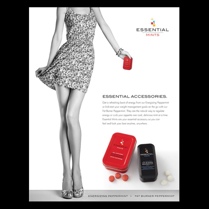 Female holding Essential Mints box print advertisement