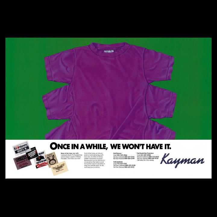 Kayman purple t-shirt print advertisement