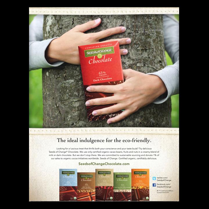 Seeds of Change chocolate hugging tree print advertisement