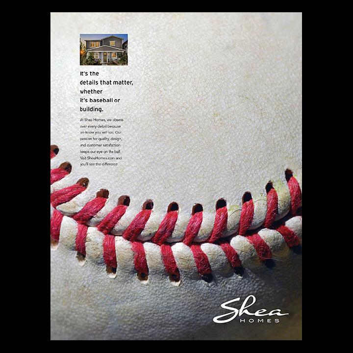 Shea Homes giant baseball print advertisement