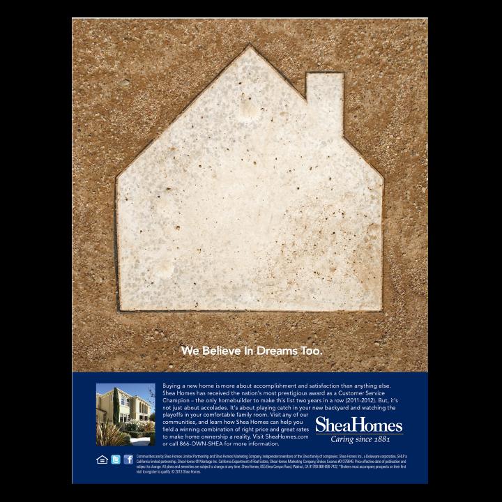 Shea Homes baseball base print advertisement