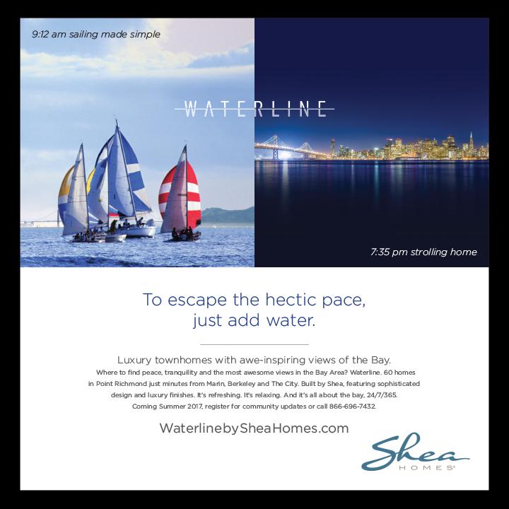 Sailboats and skyline Shea Homes print advertisement