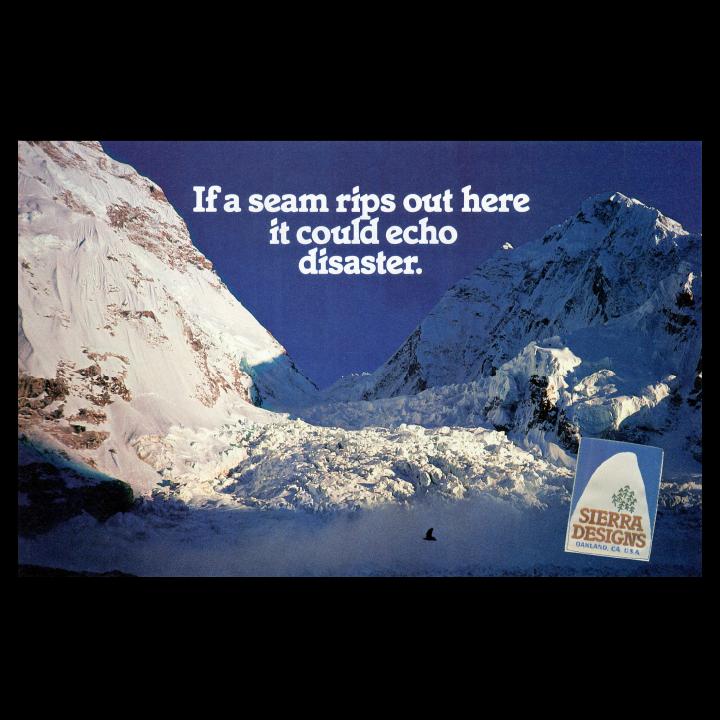 Sierra Designs snowy mountain print advertisement