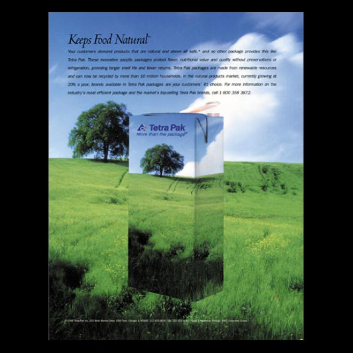 Green grassy field Tetra Pack print advertisement