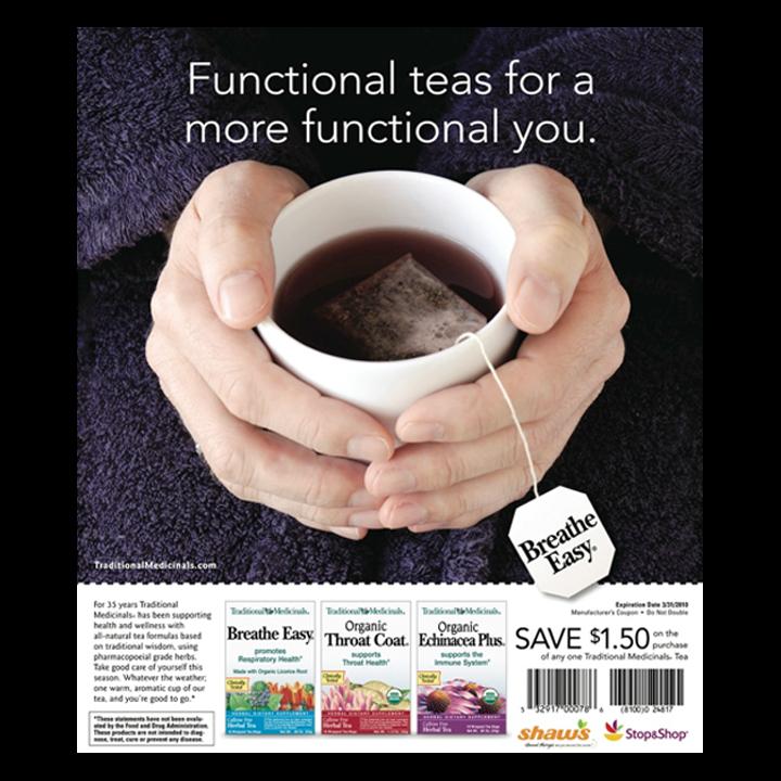 Breathe Easy tea cup print advertisement