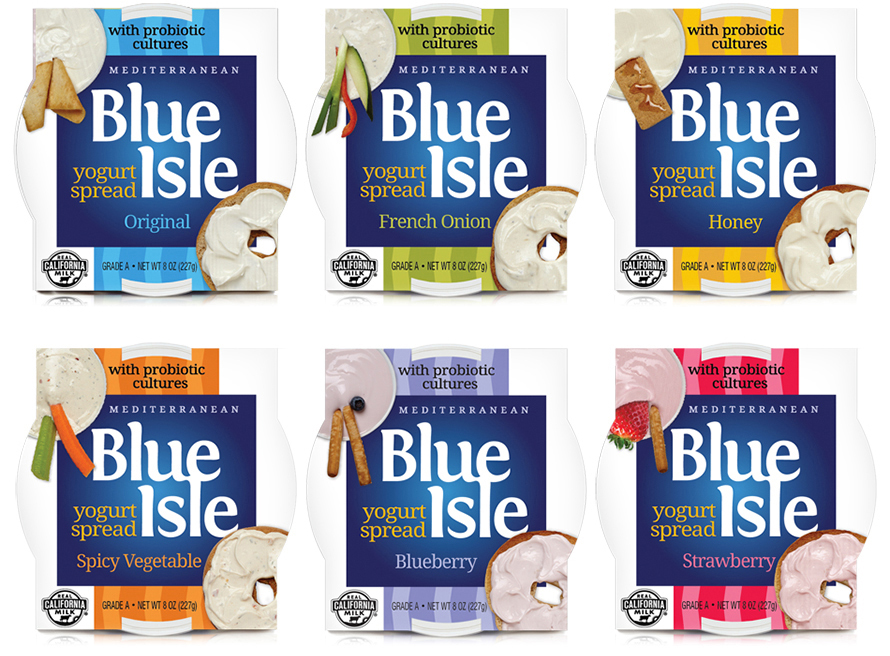 Branding and package design Blu Isle yogurt spreads
