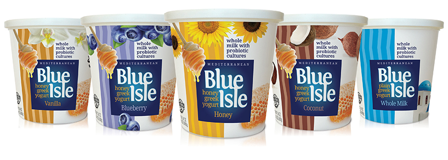 Innovative package design Blue Isle Greek yogurt