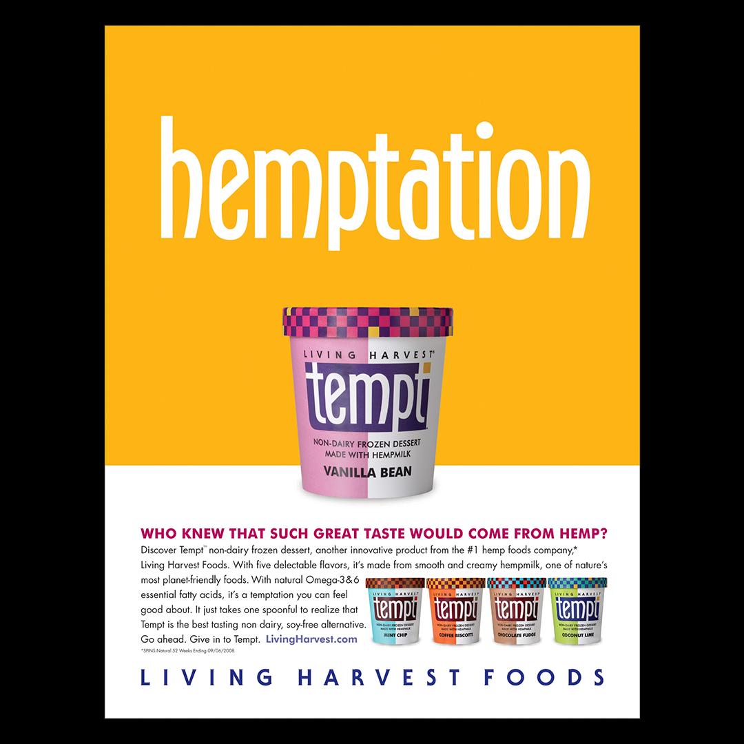 Tempt hemptation print advertisement