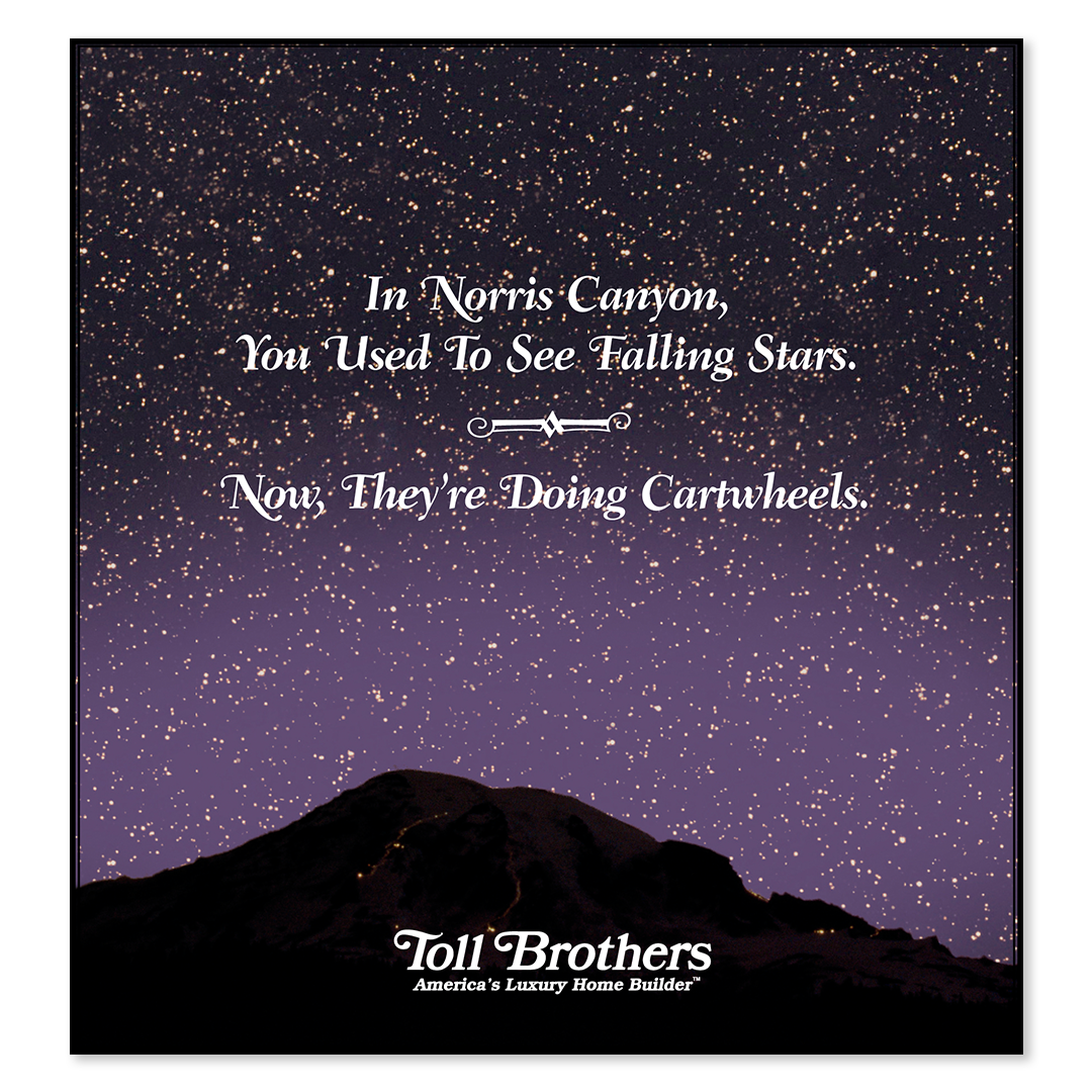 Toll Brothers starry sky print advertisement