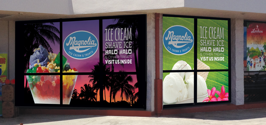 Magnolia Ice Cream & Treats window graphics, Waipahu, HI