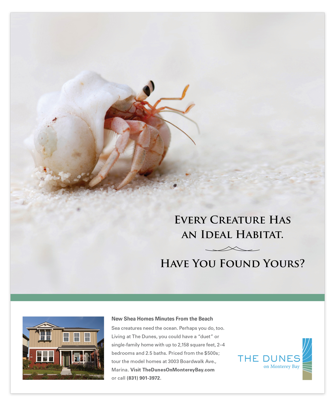 Print advertisement for homes at The Dunes