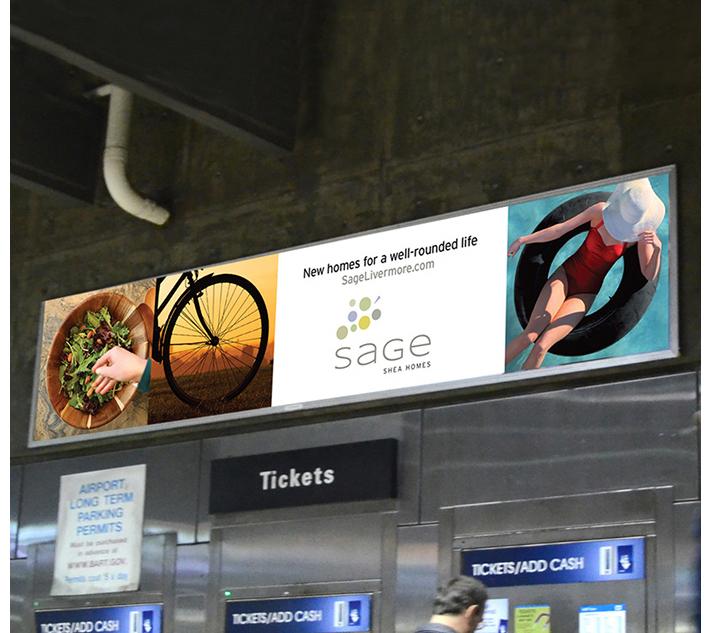 Train billboard advertisement for Sage