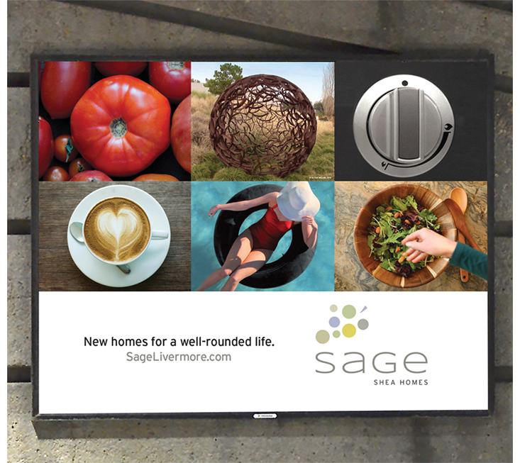 Outdoor train advertisement for Sage