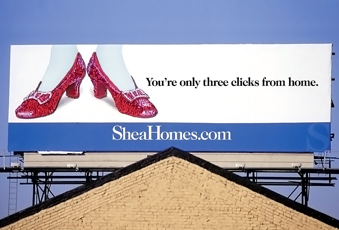 Shea red shoes billboard advertisement