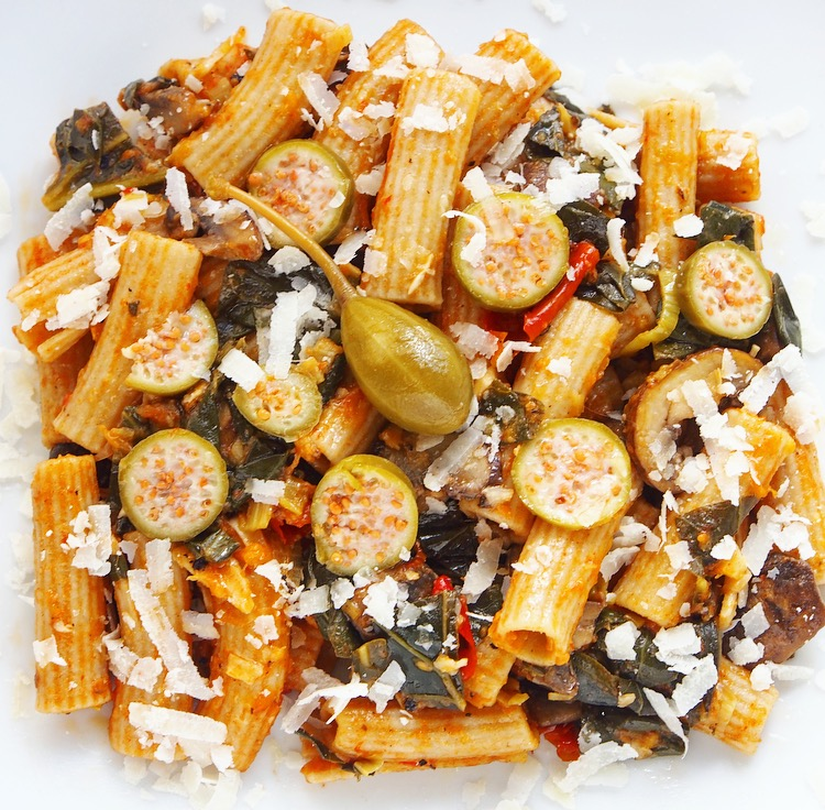Whole-Wheat Maccheroni Pasta with Caperberries, Tomatoes, Mushrooms, and Kale.jpg